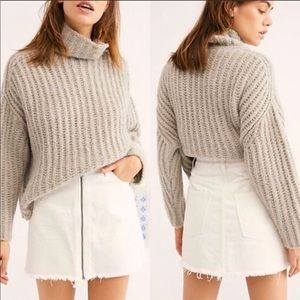 NWT | Free People White Zip-Up Denim Skirt Size 28